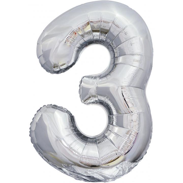 Шар (34''/86 см) Цифра, 3, Серебро, 1 шт.