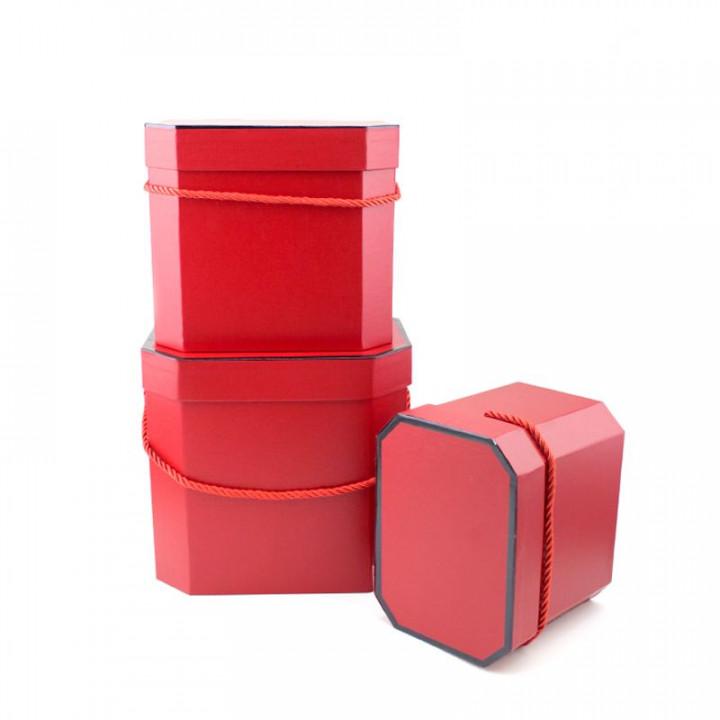 Коробка Лакшери Красный восьмиугольник 21*16*18 см