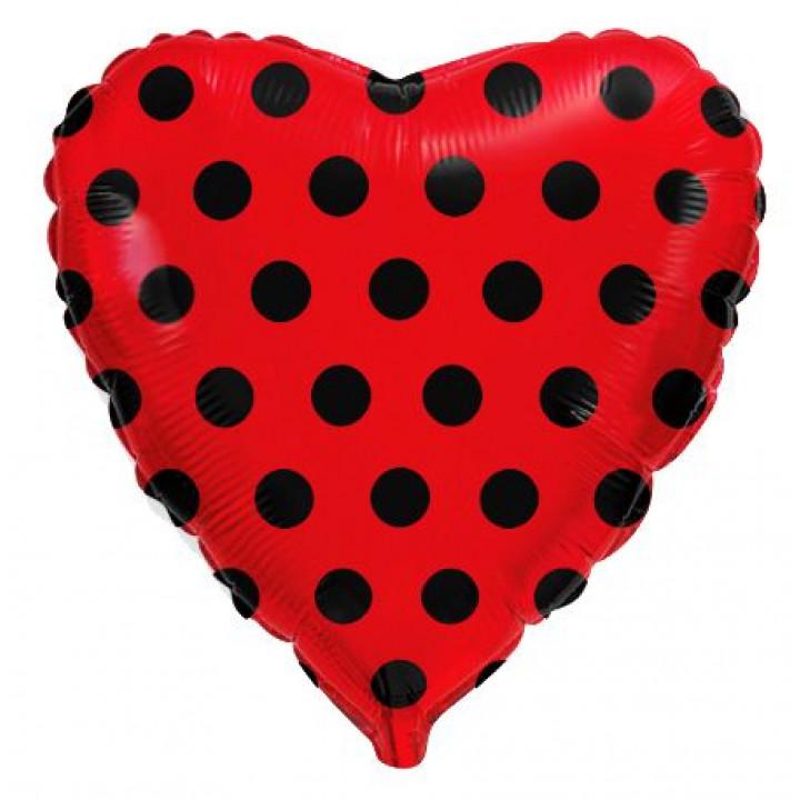 Фольгированный шар сердце чёрный горох на красном