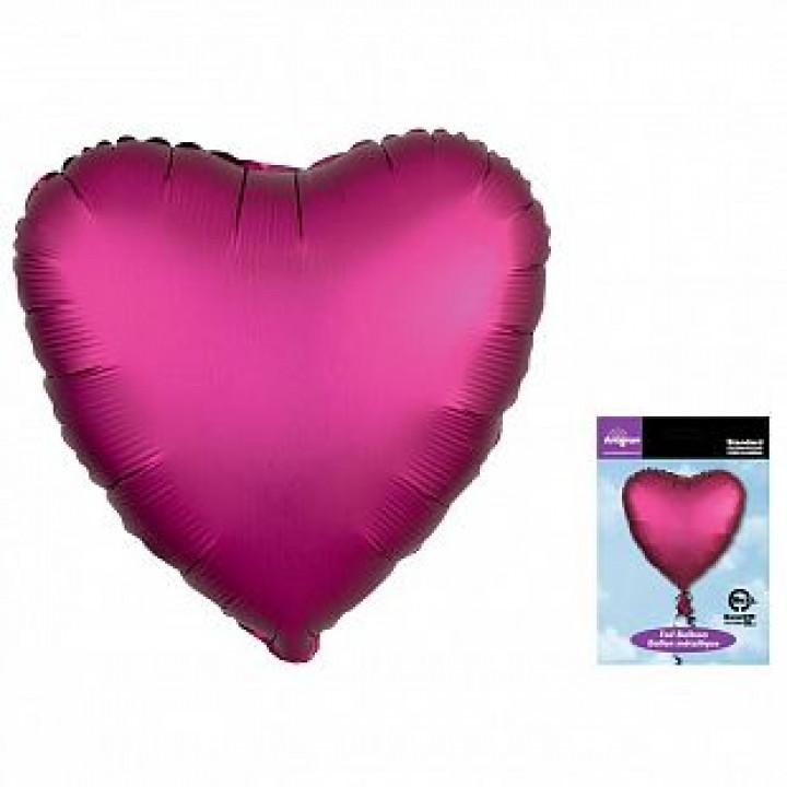 Фольгированный шар сердце Гранат Сатин Люкс