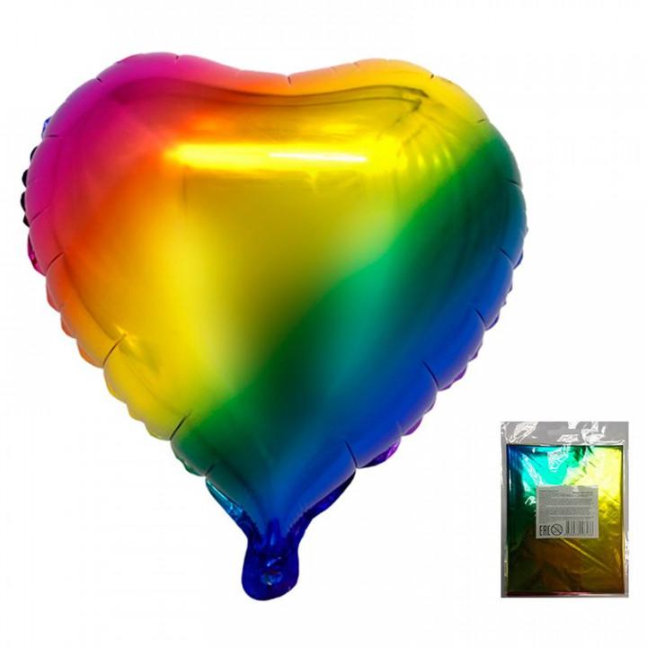 Фольгированный шар сердце радужный