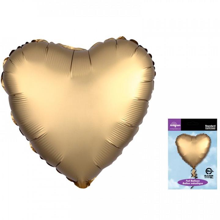 Фольгированный шар сердце Золото Сатин Люкс