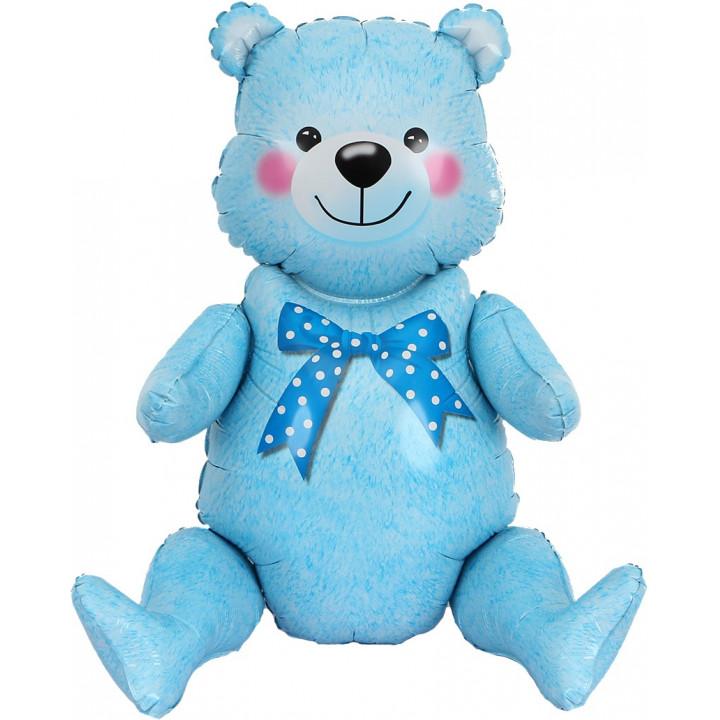 Сидячий мишка Голубой