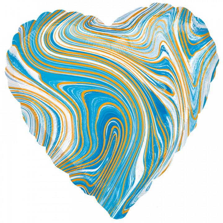 Фольгированный шар сердце голубой мрамор
