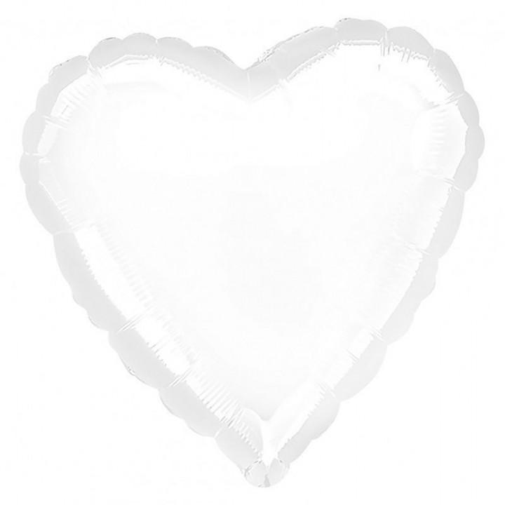 Фольгированный шар сердце белый