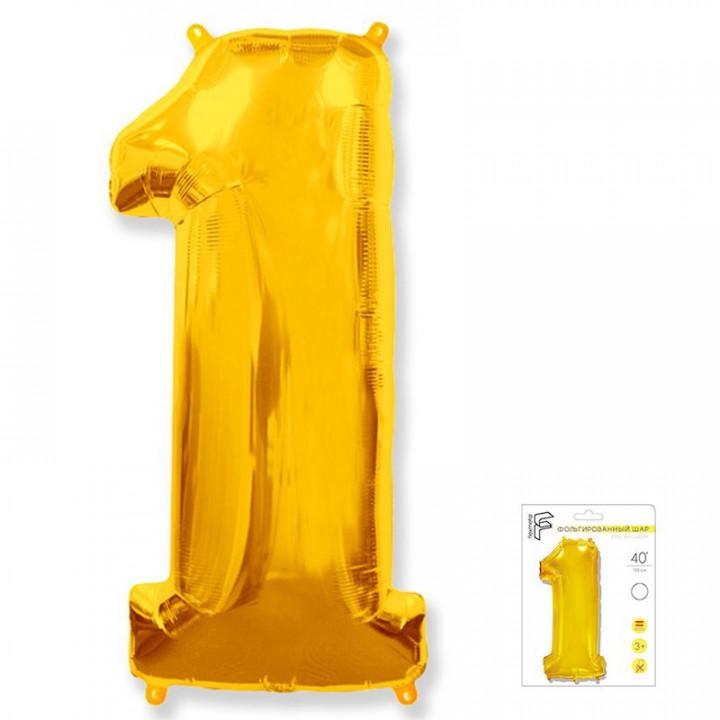 Цифра 1 золото в упаковке