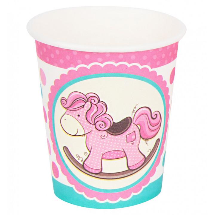 Стаканы бумажные Лошадка розовая 6шт