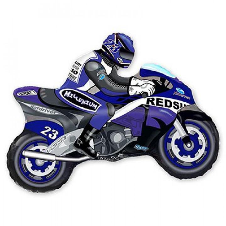 Мотоциклист синий